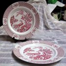 Wood & Sons Plates Dinner Yuan Pink Red Birds Transferware Stoneware Set 2 New