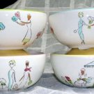 Friends Flower Bowls Shopping Pictorial Girlfriends Pastel Stoneware Set 4 NEW