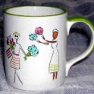 Friends & Flower Mugs Shopping Pictorial Girlfriends Pastel Stoneware Set 4 New
