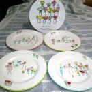 Flowers & Friends Plates Girlfriends Shopping Salad Dessert Stoneware Set 4
