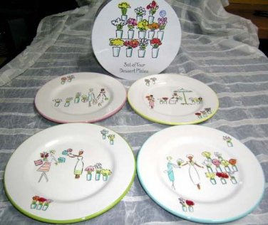 Flowers & Friends Plates Girlfriends Shopping Salad Dessert Stoneware Set 4