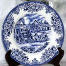 Royal Stafford Plate Stagecoach Blue Transferware Dessert Salad Stoneware New