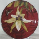 222 Fifth Plate Round Belize Orchid Rose Hummingbird Dessert Salad Porcelain New