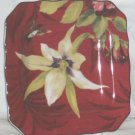 222 Fifth Plate Square Belize Orchid Rose Hummingbird Floral Porcelain New