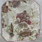 222 Fifth Plate Square Gabrielle Floral Jacobean Porcelain Clipped Corners New