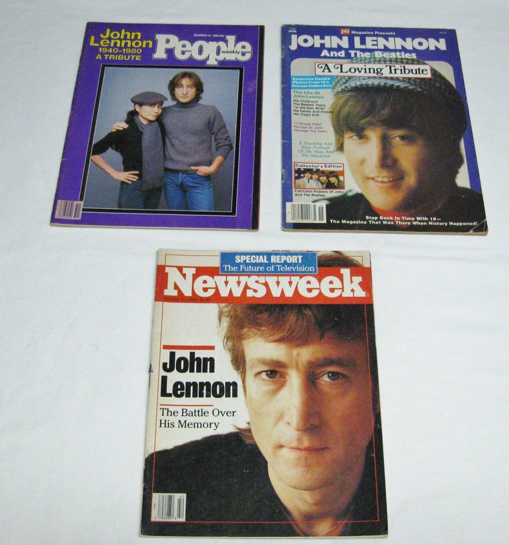 3 Collectible Magazines-John Lennon-No Labels-Newsweek/People/16