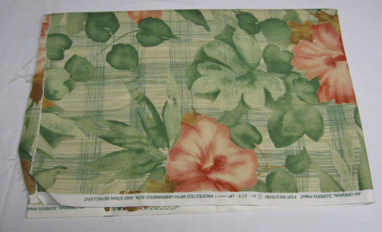 NEW-Western Screen Print Fabric-Hibiscus-2+yd by 56in-Green/Pink/Cream (#35)