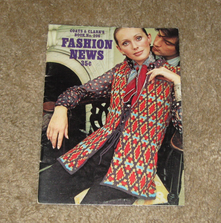 "Retro/Vintage Patterns Coats & Clark's Book No. 206 ""Fashion News""-1970 Womens Clothing"