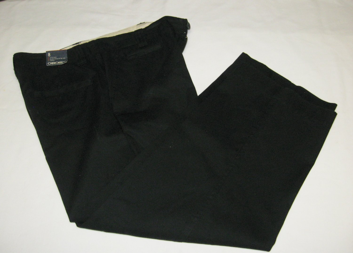 NWT-Cherokee Cropped Pants-Black-Wide Leg-Size 8-100% Cotton
