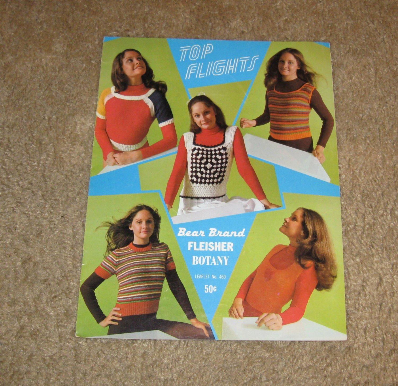 Vintage Patterns-1971 Top Flights Leaflet No. 460 Knit & Crochet-Bear Brands