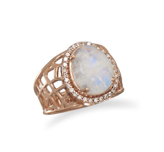 Moonstone Ring 14Kt Rose Gold Plated Sterling Silver Cz Sizes 5 - 9