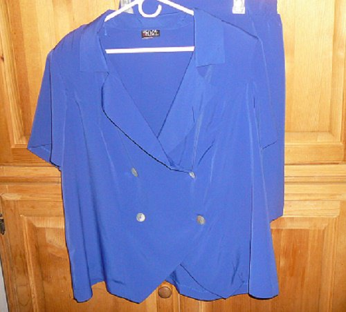 WOMEN'S SHORTS SET SIZE 22 BLUE VIOLET HELENE BLAKE - FREE SHIP