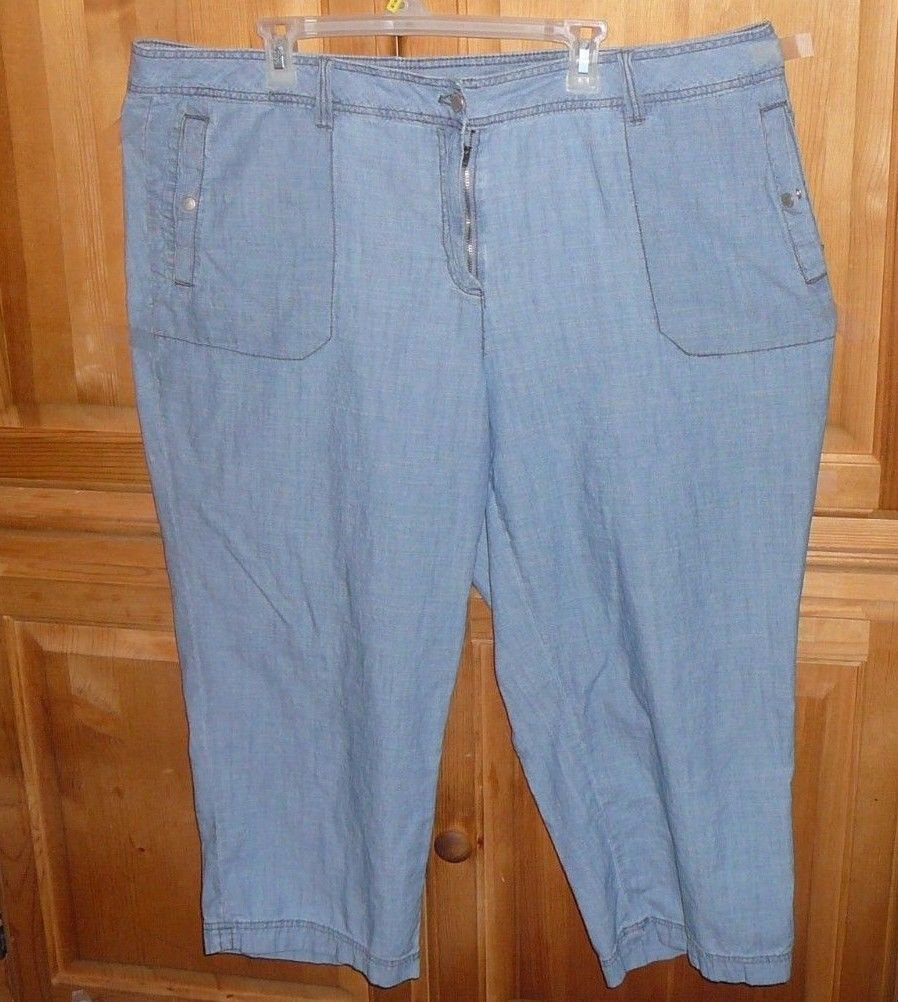 LIZ CLAIBORNE WOMEN'S CROPPED PANTS CAPRIS SIZE 22W BLUE JEAN FADED