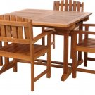 Dual Leaf Butterfly Extension Dining Table & 4 Chairs Solid Teak Wood