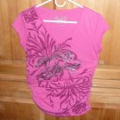 GIRLS PINK BLOUSE STUDDED WITH GATHERED SIDE V-NECK SIZE M COTTON APPLE BOTTOMS
