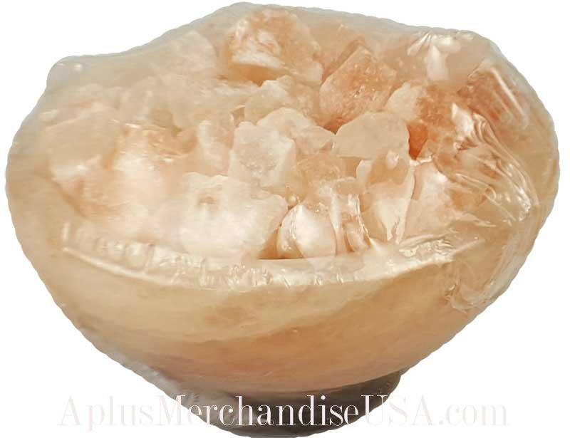 """Natural Lamp Rose Pink Salt Bowl 8"""""""