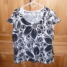 REQUIREMENTS WOMEN'S BLOUSE STRETCH KNIT BLOUSE SIZE LARGE WHITE & BLACK FLORAL