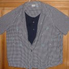 WHITE STAG WOMEN'S SHIRT 2 in 1 100% COTTON PLUS SIZE 22W/24W PLAID NAVY & WHITE