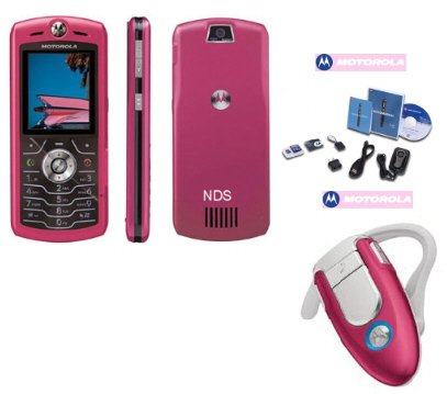 "Motorola L7 SLVR ""Limited Edition Pink"" Ultra Slim Cellular Phone Bluetooth Combo"