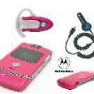 "Motorola V3 ""Pink"" Razr Bluetooth Combo + Car Charger"