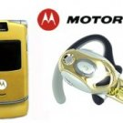 "Motorola V3 Razr ""Limited Edition - Gold"" Cellular Phone + H700 Gold Bluetooth"