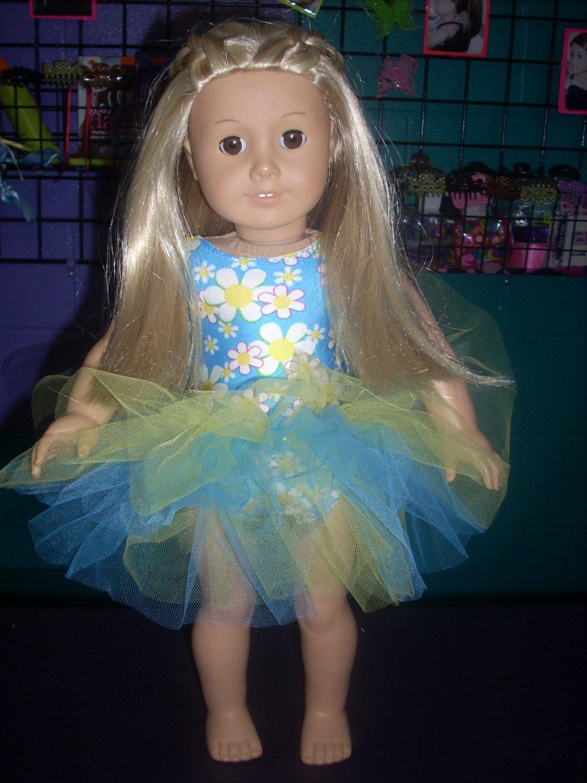 AMERICAN GIRL doll clothes- Blue DAISY leotard/gymnastics and TUTU