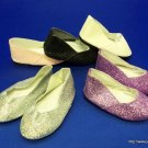 SILVER sparkle doll shoes- new- fits American Girl dolls