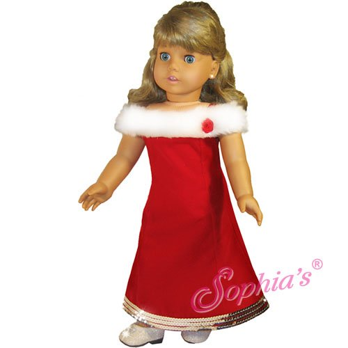 - AMERICAN GIRL Doll Clothes- Red Fur CHRISTMAS Dress-- NEW!