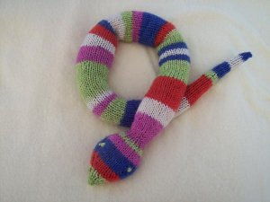 Hand Knit Snake Toy - Large - Jelly Bean Stripe