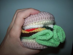 Play Food Hand Crocheted Cheeseburger / Hamburger - lettuce, tomato, cheese, pickle, onion,