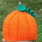 Child Size Pumpkin Hat, Autumn, Fall, Halloween, Hand Knit - Free USA Shipping!