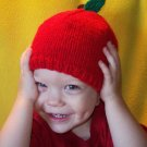 Child Size Apple Hat, Hand Knit - Free Shipping!