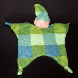 Green, Blue Plaid Blankey Baby, Blanket Comfort Doll - Free Shipping