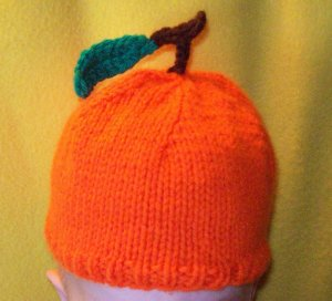 Infant, Baby size Orange Fruit Hat, Hand knit - Free USA Shipping!