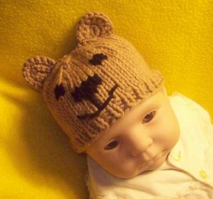Newborn, reborn, American Girl size Bear Hat, Hand Knit  - Free USA Shipping