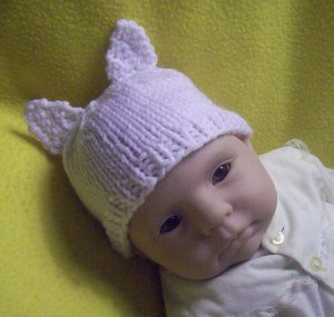 Newborn, reborn, American Girl size Cat Hat, Hand Knit  - Free USA Shipping