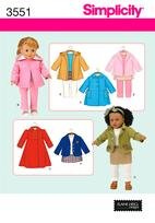 """Simplicity 3551 18"""" Doll Clothes"""
