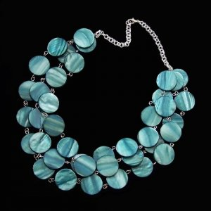 Mother of Pearl Triple Strand Necklace in Teal