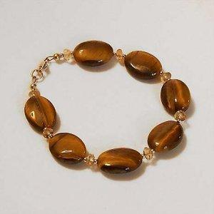 Tiger Eye and Citrine Handmade Bead Bracelet