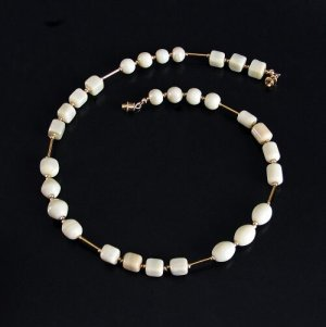 Artisan White Glass Bead Necklace