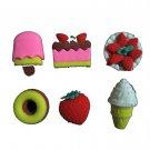 kawaii 6pcs ERASER pencil rubber food set /doll house miniature toy