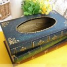 Wooden Stack Book Wood Tissue Box Holder Gift/Deco