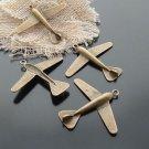 Lot of 100pcs mini brass airplane dollhouse miniature toy/jewelry Charm A2