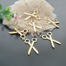 Lot of 20pcs mini Gold Siccors dollhouse miniature toy/jewelry Charm
