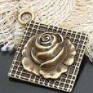 Lot of 100pcs mini brass Rose dollhouse miniature toy/jewelry Charm B12