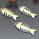 Lot of 100pcs mini brass Fish Bone dollhouse miniature toy/jewelry Charm B2