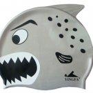Gray Kid Swimming Pool Happy Fish shark Swim Silicon Fabric Cap/Bathing Cap