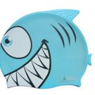 Blue Kid Swimming Pool Happy Fish shark Swim Silicon Fabric Cap/Bathing Cap