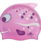 Pink Dot Kid Swimming Pool Happy Fish shark Swim Silicon Fabric Cap/Bathing Cap