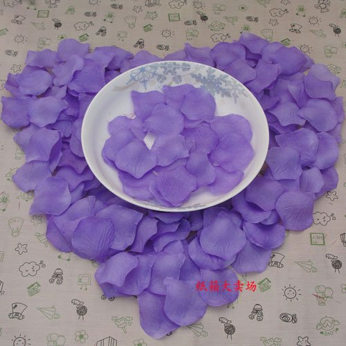 Lot of 480pcs Fake Purple Wedding Blue Rose Petal Life Size